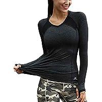 Dpolrs Yoga Mujeres de Secado rápido Deportes Top Cuello en V Manga Larga Fitness Gym Camisa Femenina niñas Corriendo Blusas Entrenamiento Yoga Undershirt