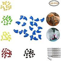AimdonR Soft Cat Nail Caps, 120pcs weiche Krallen Pfoten Nagel Abdeckungen, für Haustier Katze und Hund Möbel zu schützen, 6 Farben + 6 Stück Kleber und Applikatoren, Optionen von 4 Größe