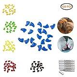 aimdonr Soft Cat Nail Caps, 120pcs suave garras Huellas uñas cubierta, para mascotas gato y perro Muebles Proteger, 6colores + 6pieza adhesivo y aplicadores, Opciones de tamaño 4