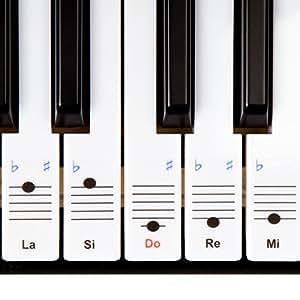 Autocollants Keysies amovibles en plastique transparent pour touches de piano et clavier - avec guide pratique d'installation.