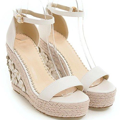 COOLCEPT Damen Mode Knochelriemchen Sandalen Keilabsatz Open Toe Schuhe Mit Blume Gr White