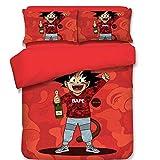 CXDM 3 Stück Bettbezug-Set 3D-Druck Dragon Ball Goku & Simpsons Muster Bettwäsche(1 Bettbezug, 2 Kopfkissenbezüge),D,King