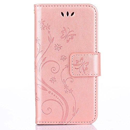 C-Super Mall-UK Apple iPhone 5 / 5S / SE Case, PU embossed butterfly & flower Leather Wallet Stand Flip Case for Apple iPhone 5 / 5S / SE(Rose gold)
