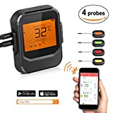 ROXTAK Thermomètre de Cuisson Bluetooth Professionnel sans Fil, 4 Sondes, Mode Cuisson Programmable LCD Ecran Thermomètre à Viande, Barbecue, Pâtisserie, BBQ, Chocolat Support Smartphone, iphone