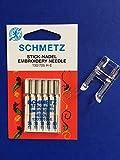 Original Schmetz Stick Nadeln 130/705 H-E Stärke 75 und 90 + Offener Applikationsfuß Nähfuß für W6 Nähmaschinen N 1235, N 1615, N 1800