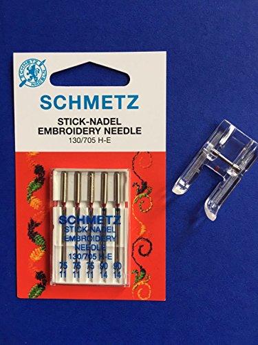 Original Schmetz Stick Nadeln 130/705 H-E Stärke 75 und 90 + Offener Applikationsfuß Nähfuß für Necchi Nähmaschinen 559 -