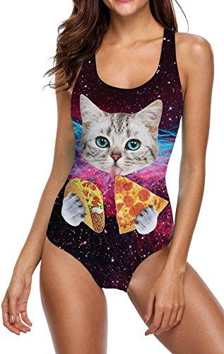 Idgreatim Damen Pizza Cat Einteiler Monokini 3D Gefälschte Behaarte Brust Bikini Print Badeanzug Sommer Badeanzug XL (Cat Brust)