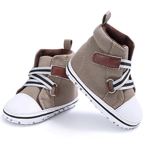 Baby Sneakers, OverDose Baby-Jungen-Mädchen-neugeborene Krippe-Baumwolltuch-weiche alleinige Schuh-Turnschuh-Schuhe Khaki