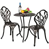 Yaheetech Gartenmöbel-Set Zwei Sitzhocker Bistro Set Gartenmöbel Bronze