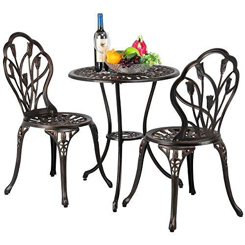 Yaheetech 3tlg. Bistro Set Balkonset Gartenset mit Stühlen Gartenmöbel-Set Zwei Sitzhocker Gartenmöbel im antiken Stil Aluguss Bronze