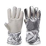 Moolo Feuerfeste Handschuhe 300-400 Grad Anti-Heiße Handschuhe Fünf Finger Verdicken Hohe Temperaturbeständigkeit Aluminiumfolie Handschuhe (Größe : 33cm)