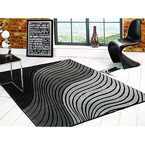 Design moderno, di alta qualità, stile Breeze-Tappetino, colore: nero, Grigio, 160 x 230 cm