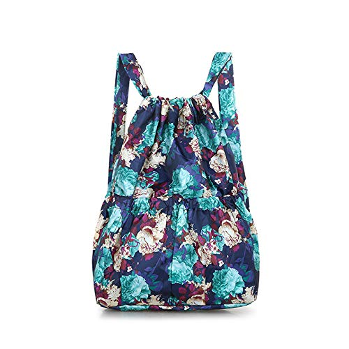 ZPF Kordelzug Rucksack, Frauen Vintage Blaue Blume leichte Schultasche mit Laptop-Fächern, für Studenten Jugendliche Mädchen Reisen Sport Schwimmen Yoga -