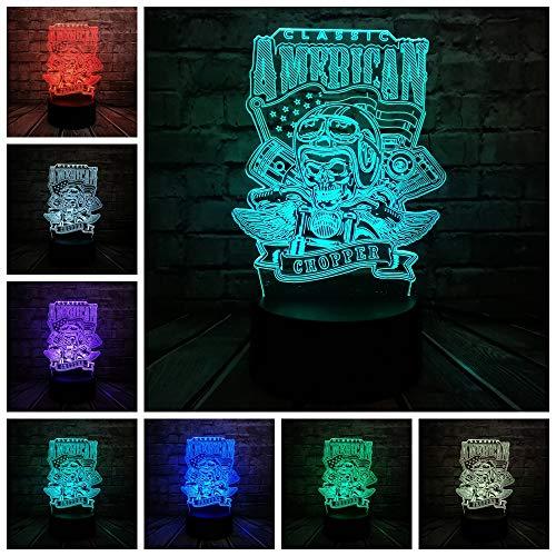 Neuheit American Chopper Motorrad Schädel 3D Lampe Nacht USB LED Beleuchtung Mulitcolor Weihnachten Decora luminaria Kindertabelle