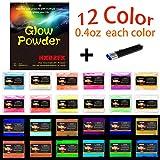 HXDZFX 4.8oz 12 Farben Fluoreszierendes Pulver,Nachtleuchtpulver Leuchtpulver Farbpulver,Nachtleuchtende Pigmente,Epoxidharz Farbpigmente Leuchtpulver Set,Im Dunkeln leuchten(12 Farben x 0.4oz)