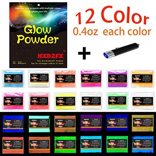 HXDZFX 4.8oz 12 Farben Fluoreszierendes Pulver,Nachtleuchtpulver Leuchtpulver Farbpulver,Nachtleuchtende Pigmente,Epoxidharz Farbpigmente Leuchtpulver Set,Im Dunkeln leuchten(12 Farben x 0.4oz) -