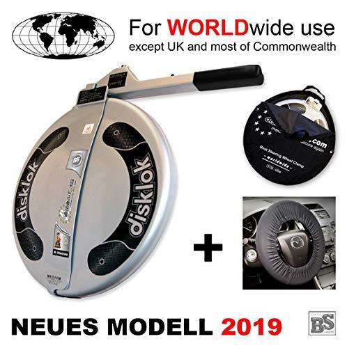 Disklok M 415 Silber Bundle mit Lenkrad-Schutzbezug und Aufbewahrungstasche - Lenkradkralle und Airbagschutz für Lenkräder mit 38,6-41 cm ø (für Linkslenker EU ohne UK)