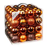 64 Christbaumkugeln 6cm Kugelbox Kunststoff bruchfest // Dekokugeln Weihnachtskugeln Baumkugeln Baumschmuck Set Inge-Glas Plastik PVC 60mm (Copper-Brown)