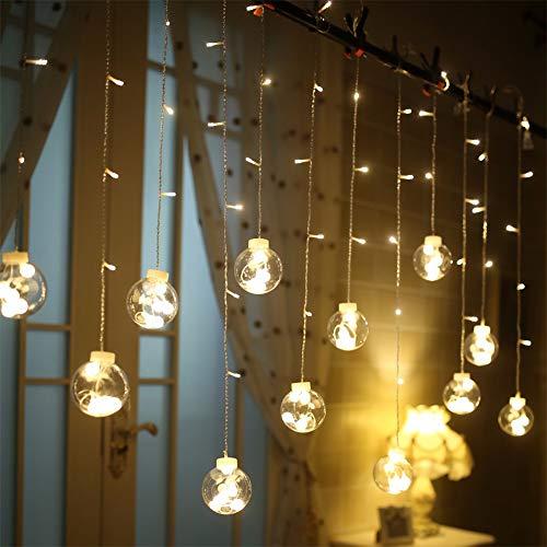 Vorhanglicht LED vorhang lichterkette,Innen und Außen Deko Glühbirne,2.5m 108LEDs String Lichter Lights ip44 Wasserdicht (warmweiß)