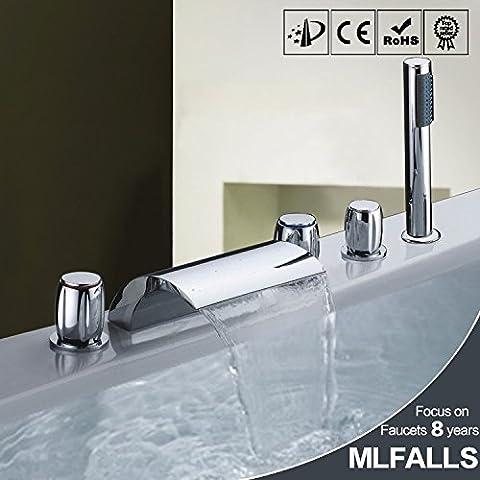 Kiss★ Cascada bañera grifo de la caliente y la ducha de la manija del interruptor frío redondos conjunto ducha con cinco pedazo de cubierta de