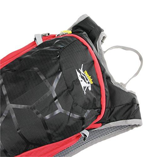 15L Fahrradrucksack Sportrucksack Damen Herren Trinkrucksack Reisetasche wasserdicht ultraleicht Trekkingrucksack Reiten Rucksack für Mountainbike Joggen Wandern Radfahren Camping und Bergsteigen Schwarz