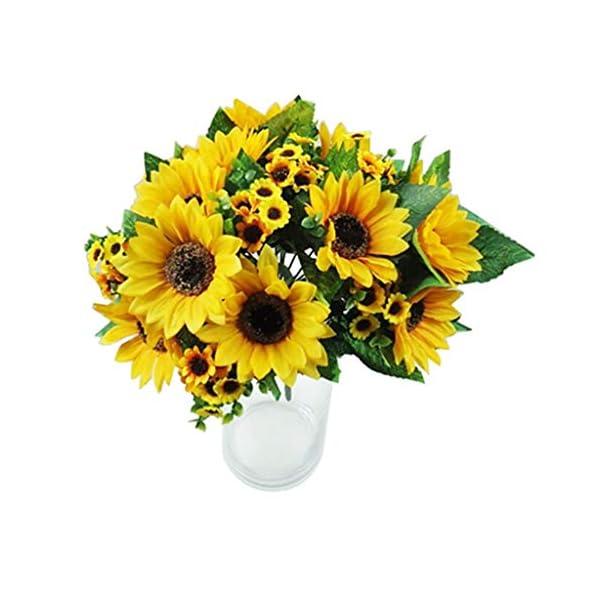 Ogquaton 7 cabezas de girasol falso Artificial flor de seda Bouquet decoración de la boda en casa práctica y útil