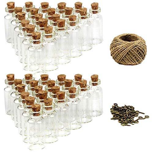 Goodlucky365 50 Stück 5ml Mini Glasflaschen Klein Glasfläschchen mit Korken, 50 Stück Glasflaschen Klein. Ösenschrauben und 30 Meter Bindfaden -