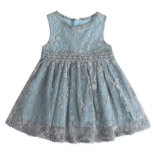 YWLINK MäDchen Mesh Retro Elegant ÄRmellos Kleiden Süß Knielang Spitze Patchwork Party Urlaub Prinzessin Kleid(Grau,130)