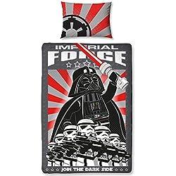LEGO Star Wars–Juego de Funda de edredón con Funda de Almohada. Darth Vader y Storm Trooper Dos Cara Reversible diseño, algodón, Negro, Single