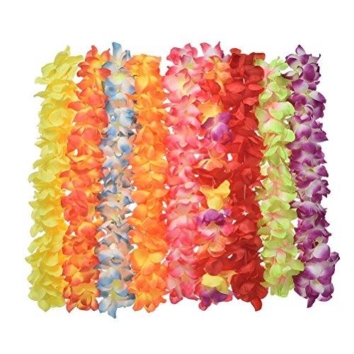 Ein Knalliges Kostüm Halskette - 8 hawaiianische, gekräuselte Blumengirlanden / Halsketten von SevenMye für tropische Themenparties, Cheerleader Aufführungen und Hochzeitsdekoration