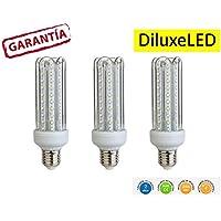 Diluxe LED - Pack X3 Bombillas LED 4U, 20W,(equivalente a 200W), Luz Cálida,casquillo gordo E27, 1700 lumen, (no regulable) 360° ángulo de dispersión / 230 voltios AC,