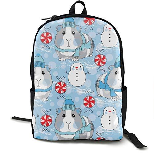 Guinea Pigs Snowmen And Candy On Blue Adult Premium Travel Backpack, Water-Resistant College School Bookbag, Sport Daypack, Outdoor Rucksack, Laptop Bag for Men&Women