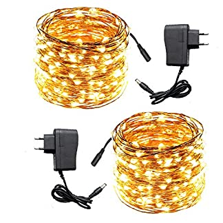 ACDE 2 Pezzi Catena Luminosa 10 Metri 100 LED con EU Adattatore, Impermeabili Decorative Luci Stringa per Natale Terrazza Giardino Festa Nozze–Giallo Caldo