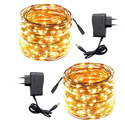 ACDE 2 Pack Guirnaldas Luminosas 10 Metros 100 LED