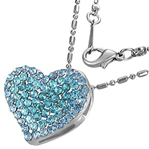 Mode Kristall Liebe Herz unsichtbare Halterung Charm Halskette mit Schmucksteinen - Blau