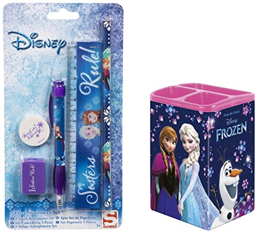 Disney Frozen - Schreibtisch 6 Teile Set- Metal Box - inklusive Bleistift,Kugelschreiber, Lineal, Radiergummi, Organizer und Anspitzer