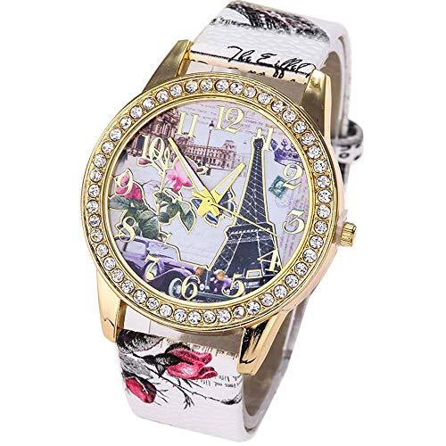 VECOLE Damen Uhren Mode Vintage Strass Inlay Eiffel Eisen Muster Zifferblatt Lederarmband Uhren Geschenk für Frauen Quarz Analog Display Uhr(Weiß) -