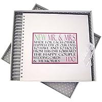 White Cotton Cards–Tarjeta de felicitación de palabras para la boda y de la memoria Libro, madera), color blanco