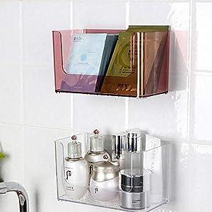 HKJhk Contenitore cosmetico fissato al Muro Mensola Bagno Minimalista Europeo Trasparente a Parete in Acrilico (Colore : Oro)