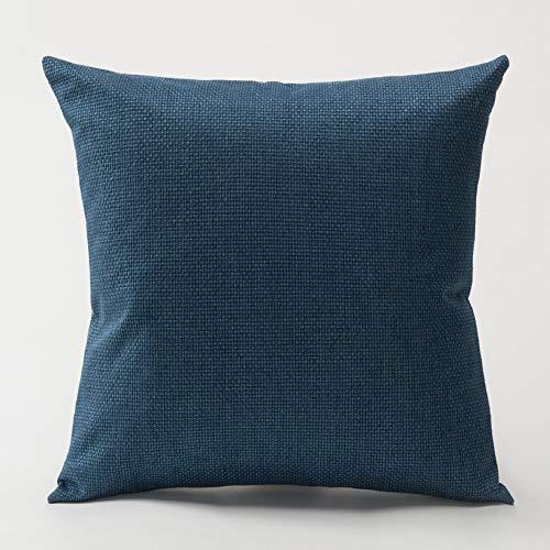 Verdicken einfarbig Leinen Kissen Kissenbezug einfache Büro Sofa Auto Stoff Kissenbezug Kissen Set dunkelblau 50x50cm