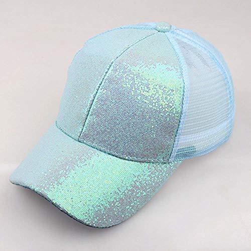 dchen Mützen Baseball Cap Pferdeschwanz Baseballmütze Pailletten Unisex Baseballcap Reine Farbe Kappe (S, Blau) ()