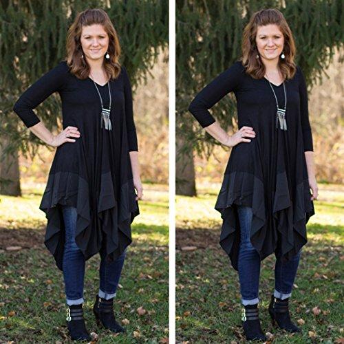 ZEARO Herbst Winter Reizvolle Langarm Loose Minikleid T Shirt Kleid Lässig V-Ausschnitt Blusenkleider Einfarbig Schwarz