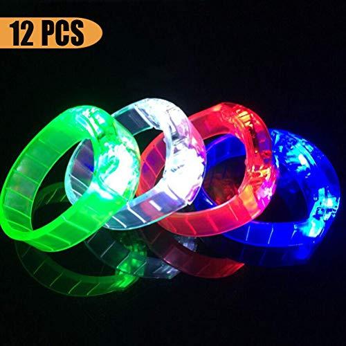 Toyvian LED Leuchten Armbänder - Blinknendes Armband, Glühen in der Dunklen Party, 12 Stück