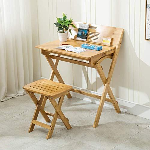 Good And Good Rechteckiger Klapptisch aus Bambus mit Schublade, kostenlose Installation von Klapptischen, Massivholz-Kinder-Klapptisch für den Haushalt mit Ablage und Regal (Farbe: Tisch)