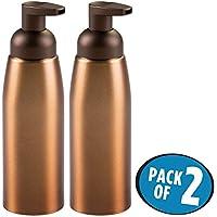 mDesign dispensador de jabón color bronce - Dispensador de gel recargable con capacidad de 414 ml - Dosificador de espuma hecho de aluminio inoxidable y plástico - Pack de 2 dispensadores