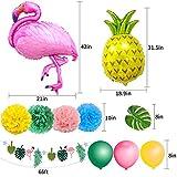 SPECOOL Hawaiian Tropical Dekoration, 52PC Beach Party Supplies mit bunten Ananas Flamingo Ballons Palm Simulation verlässt Banner Papier Pom Poms für Luau Party Dschungel Sommer Tischdekorationen - 3