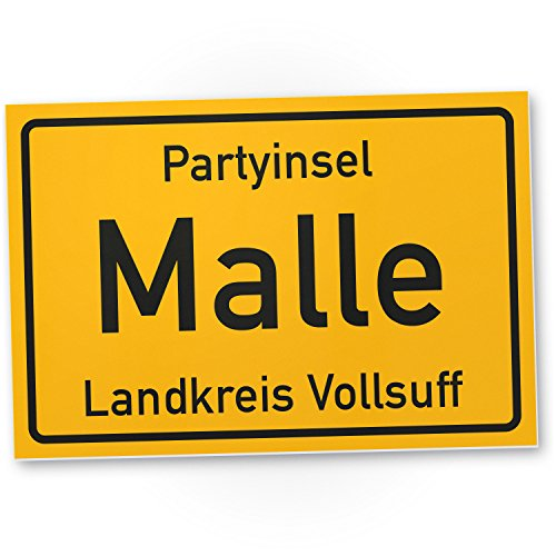 Partyinsel Malle - PVC Schild (30 x 20 cm), Lustige Geschenkidee Geburtstagsgeschenk für besten Freund oder Sauf-Kumpel, Kleines Geschenk für Männer, Mallorca-Party Zubehör, Deko für Trinkspiele