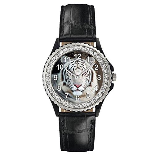 Timest - Tiger weiss - Strass Damenuhr mit Lederarmband in schwarz Rund Analog Quarz CSG0126b (Damen Weiß Tiger Strass)
