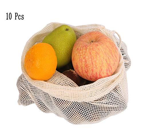 FLHK Brotbeutel×10 - 100% Baumwolle - Wiederverwendbare Obst- und Gemüsebeutel | Obstnetze | Einkaufsnetze Aufbewahrungbeutel, 3 Verschiedene Größen,M -