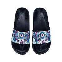 Fhdang Decor Sandal Beach Shower Bathing House Slippers for Women Men Blue Elephant Pattern